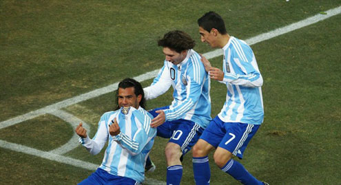 Carlos Tevez first left in Argentina colours
