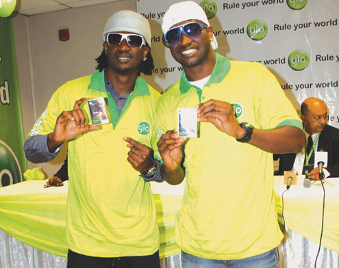 P-Square at the Glo unveiling ceremony yestersay. PHOTO: AKIN FARINTO.
