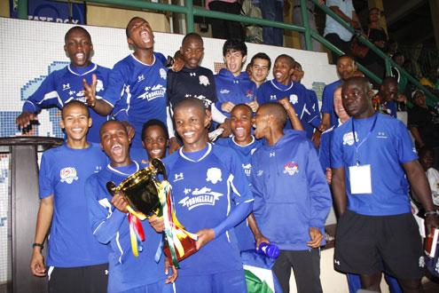 Players of SuperSport United celebrate winning the Lagos International Youth Cup at the Teslim Balogun Stadium, Surulere, Lagos, Nigeria. PHOTO: Akin Farinto.