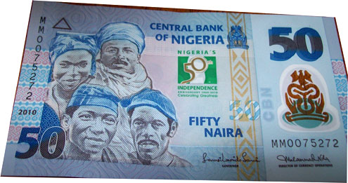 A redesigned N50 note for Nigeria's 50th anniversary.