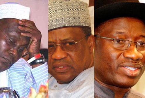 (from left) Atiku Abubakar, Geeneral Babangida and Goodluck Jonathan.