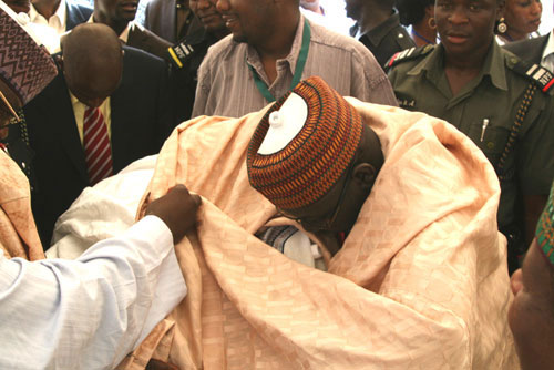 Governor of Yobe State Voting under cover at the Eagle Square during the ANPP Convention.