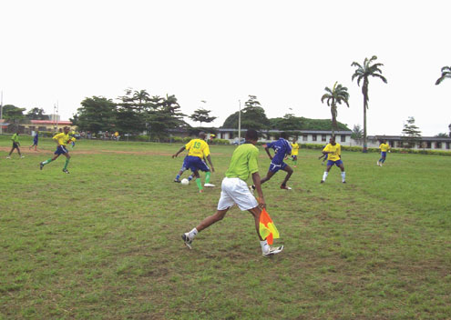 Players of Osun NYSC and their counterparts from Kwara State trade tackles in a football match during the Zonal Sports Festival held in Lagos.