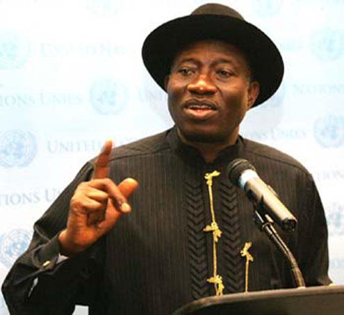President Jonathan address UN correspendents