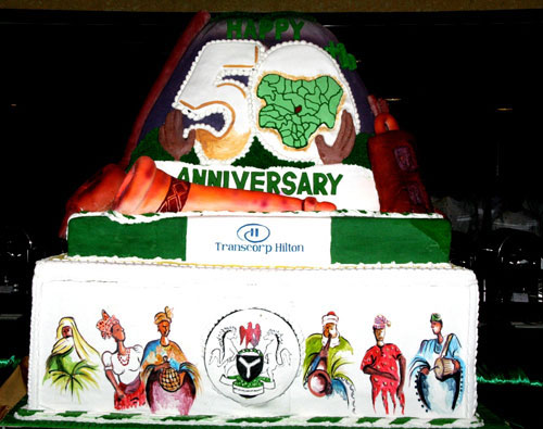 NIGERIA'S 50TH INDEPENDENCE ANNIVERSARY CAKE  being CUT BY PRESIDENT GOODLUCK JONATHAN TODAY FRIDAY IN ABUJA.
