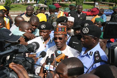 Minister of Police Affair, Adamu Wazirri, with Abuja CP, John Haruna, been interviewed by Journalist.