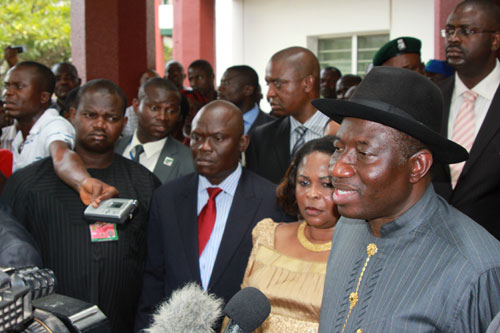 President Goodluck Jonathan and Dame Patience Jonathan after visiting victim of Friday's Abuja Bomb Blast at the Intensive Care Unit, National Hospital, Abuja. 02/10/2010.