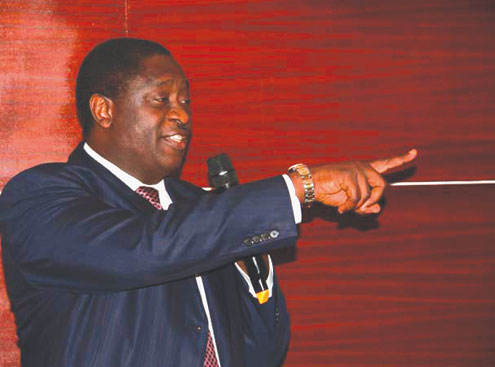 Dr. Babalakin, chairman, Bi-Courtney Highway Services Limited, addressing editors last night.