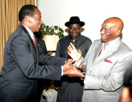 Sit-tight leaders: Blaise Compaore, left, with former Senegalese President,  Wade