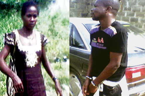 Crime of passion: Nsidibe Achibong in handcuffs and his lover Margaret Caleb