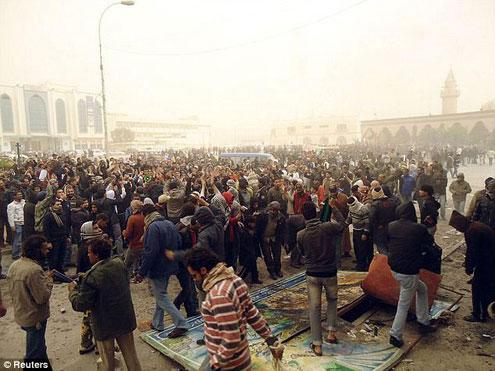 Protesters in the seaport city of Tobruk, Libya.