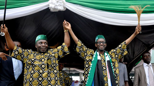 Presidential Candidate of Action Congress of Nigeria [ACN] Mallam Nuhu Ribadu with [right] with the Akwa Ibom State Governorship Candidate, Senator. John James Udoedehe, at the Presidential Rally and flag off Campaign of  Senator. Udoedehe, at Uyo township Stadium, Uyo Akwa Ibom State Capital…yesterday 09-03-11