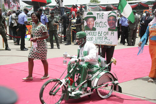 A DISABLE PDP SUPPORTER DISPALYING DURING THE RLLY.