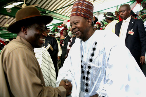 PRESIDENT GOODLUCK JONATHAN WITH FORMER PDP'S NATIONAL CHAIRMAN, CHIEF SOLOMON LAR.