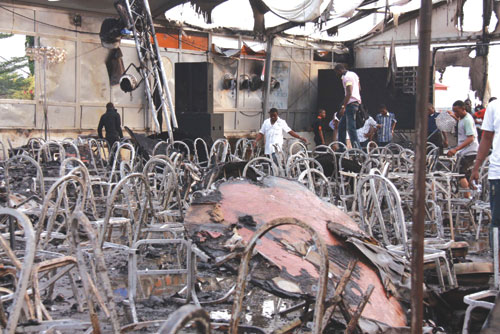 Dr. Amos Adamu's Balmoral Hall  events centre, Oregun, Ikeja, Lagos gutted by fire yesterday during the City People Awards. Photos. IDOWU OGUNLEYE.