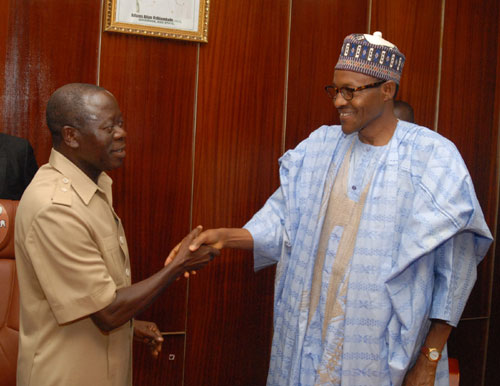 Governor Adams Oshiomhole of Edo State (left) and Alhaji Muhammadu Buhari, Presidential candidate of the Congress for Progressive Change (CPC) during the latter's visit to the Governor in Benin City, yesterday, as part of his nationwide campaign.