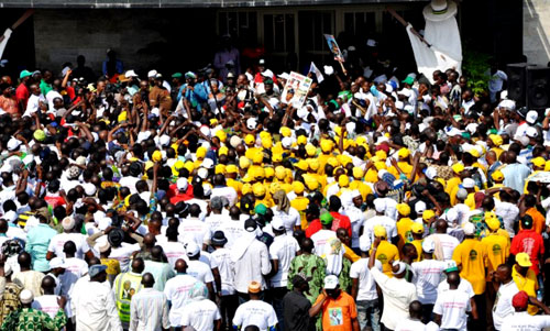 Lagos State Governor, Mr. Babatunde Fashola SAN with the National Union of Road Transport Workers (NURTW) and other transport workers in the State during a Solidarity walk from Tafawa Balewa Square which terminated at the State House, Ikeja to endorse Governor Fashola for second Term on Saturday, March 19, 2011.