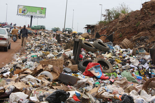 Refuse lattered everywhere in Nyanyan, Abuja, on Easter Monday.