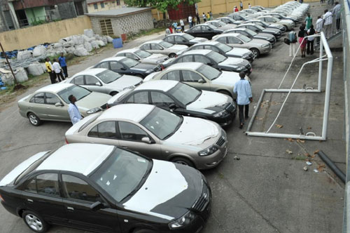 fleet of Nissan sunny cars donated by the state Governor to Sharks football club of Port harcourt as a reward for winning the 2010 WAFU Cup