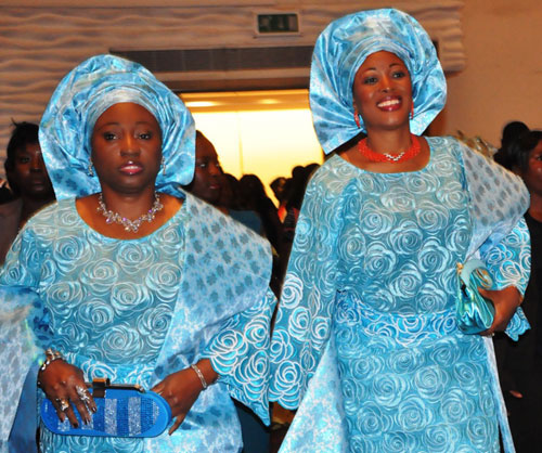 Deputy Governor of Ekiti State, Mrs Funmi Olayinka (right) with the First Lady of Ekiti State, Mrs. Bisi Fayemi (left) during the Inaugural Ball in honour of the Governor for his second term in office at Eko Hotel & Suites, Victoria Island Lagos, on Sunday May 29, 2011.