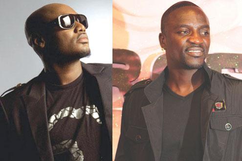 •Tuface Idibia (left), Akon (right).