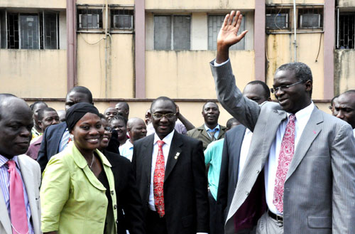 Lagos State Governor, Mr. Babatunde Fashola (SAN) acknowledging cheers from the crowd during the special prayer organized by the State Public Service to mark the beginning of his second term at the Adeyemi Bero Auditorium, Alausa Secretariat, on Tuesday, May 31, 2011.