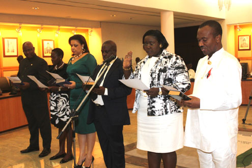 Newly appointed commissioners of the Rivers State Government taking oath of office during their swearing in ceremony held in Government House, Port Harcourt.