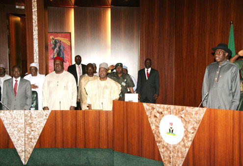 FROM RIGHT, PRESIDENT GOODLUCK JONATHAN, VICE PRESIDENT NAMADI SAMBO, SECRETARY TO THE GOVERNMENT OF THE FEDERATION, ANYIM PIUS ANYIM AND HEAD OF SERVICE, PROF. OLADAPO AFOLABI.