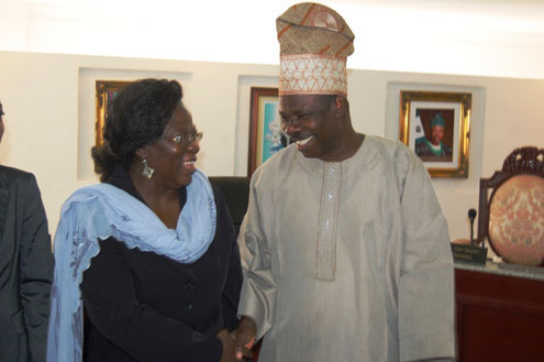 Gov. Amosun with the UNFPA Country Representatives,Dr.Agata Lawson.