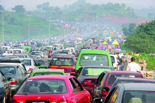 Kugbo junction Nyanya road trafic this morning in Abuja