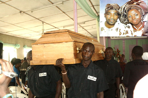The casket of the deceased, late Taiwo Oloruntoba during a funeral service  this morning at RCCG, City of Refuge Parish, Alagomeji, Yaba.  Inset: The couple on their wedding day in August, 2009.  PHOTOS: KOLA ALIYU.