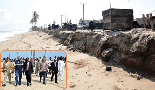 Part of damaged areas of the beach caused by the flood at Lekki/Alpha Beach on Monday July 18, 2011. INSET: Commissioner for Water Front and Infrastructure Development, PrInce Adesegun Oniru (2nd right), Minister of Trade and Investment, Dr. Olusegun Aganga (3rd left), Permanent  Secretary, (Office of Drainage) Ministry of Environment, Engr. Muyideen Akinsanya (left) and the Environmentalist, Mr. Desmond Majekodunmi (2nd right), during the inspection of the beach by the Federal Government Ecological Fund Delegation team. With him are: Lagos State Commissioner for the Environment, Mr. Tunji Bello (left) and the Permanent  Secretary, (Office of Drainage) Ministry of Environment, Engr. Muyideen Akinsanya (right)