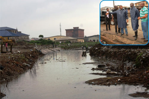 A portion of the canal in Surulere at Bode Thomas Road: Houses on its path are demolished