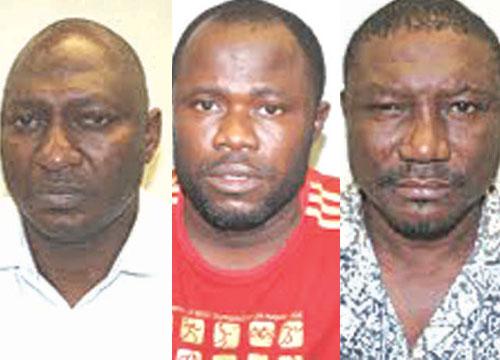 (from left) Sunday, Enyinwa and Ganiyu, the three Nigerians jailed in UK for fraud.