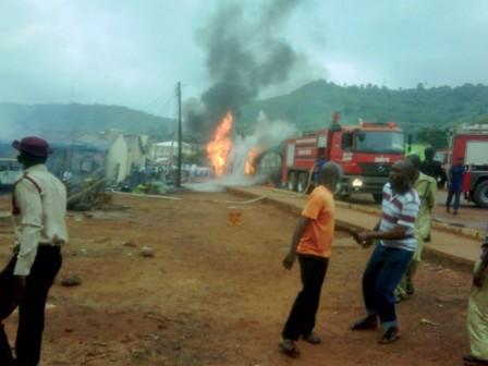A scene of petrol tanker fire