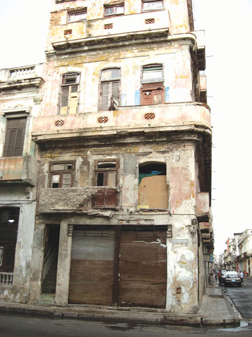 A distressed building waiting for demolition in Lagos.