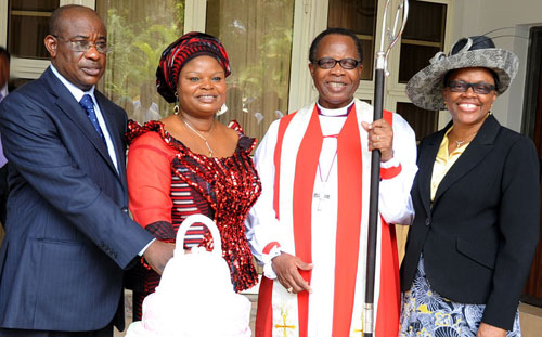 L-R: Deputy Governor's Spouse, Mr. Abiodun Adefulire, Lagos Deputy Governor, Hon. Adejoke Orelope-Adefulire cutting the cake to celebrate the Deputy Governor's 52nd birthday celebration, with them is The Diocesan Bishop of Lagos, Most Reverend Ephraim  Ademowo and his wife Oluranti held at the Deputy Governor's Ikoyi residence on Thursday, 29 September 2011.