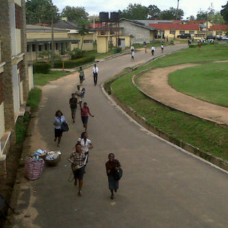 Students of Bowen University running to safety.