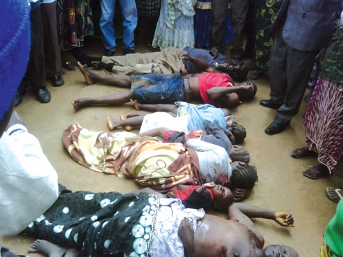 Corpses of a family of eight and a visitor slaughtered this morning near Jos, the Plateau State capital.