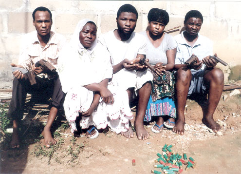 The robbery suspects arrested in Lagos.