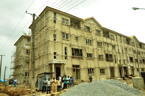 The on-going Gbagada Housing Estate project of the Lagos State Government in Gbagada during an inspection by the Governor, Mr. Babatunde Fashola (SAN) on Tuesday, October 4, 2011.