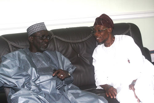 Former Governor of Kano State, Mallam Ibrahim Shekarau (left) and Osun State Governor, Ogbeni Rauf Aregbesola, during a visit of the former  governor to Governor Aregbesola in his office, Abere, Osogbo on Tuesday 18-10-2011 Photo: State House