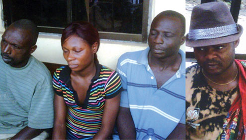 The suspects arrested for gang-raping a teenager in Lagos. PHOTOS: Cyriacus Izuekwe.
