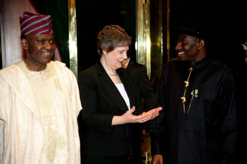PRESIDENT GOODLUCK JONATHAN WITH VISITING MS. HELEN CLARK, UNDP ADMINISTRATOR AND MINISTER OF FOREIGN AFFAIRS, AMB. OLUGBENGA ASHIRU AT THE STATE HOUSE, ABUJA, TODAY TUESDAY