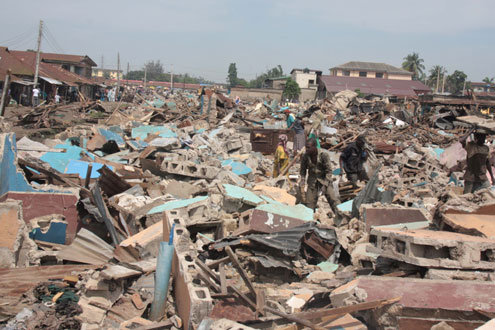 The demolished Odedeji Street Agege for the govert to construct a good drainage, yesterday.