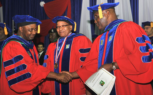 LEFT; VICE PRESIDENT MOHAMMED NAMADI SAMBO; SOUTH AFRICAN PRESIDENT DR.JACOB ZUMA AND FORMER VICE PRESIDENT ATIKU ABUBAKAR DURING THE AMERICAN UNIVERSITY OF NIGERIA SPEACIAL AWARD CEREMONY AND CONFERMENT OF AN HONORARY DOCTORATE DEGREE TO SOUTH AFRICAN PRESIDENT IN YOLA ADAMAWA STATE; ON SATURDAY 10/12/11.ADAMAWA SATE; ON SATURDAY 10/12/11.