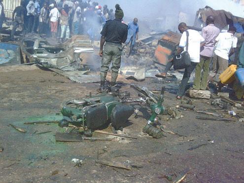 Scene of the bomb blast in Kaduna this morning