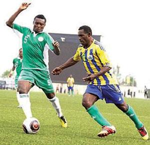 Nigeria's Godfrey Oboabona (left)