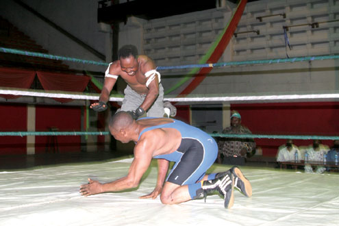 Wrestlers in action during a recent tournament in Lagos.