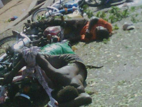 •Okada riders killed this morning during the Jalingo bomb blast. Photo: Ben Adaji.